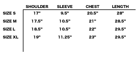 FW19 ENDLESS JOY - MIDNIGHT S/S SHIRT SIZE CHART