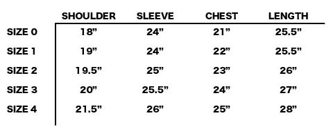 FW19 NONNATIVE - SOLDIER JACKET SIZE CHART