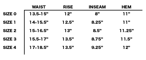 "FW19 SATISFY - JUSTICE MERINO 8"" SHORTS SIZE CHART"