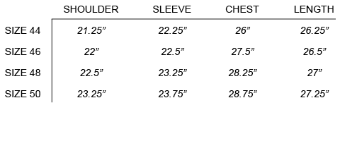 FW16 ROBERT GELLER - THE PHOTOGRAPHER SHIRT SIZE CHART