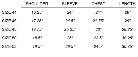 SS17 OUR LEGACY - LINER JACKET SIZE CHART