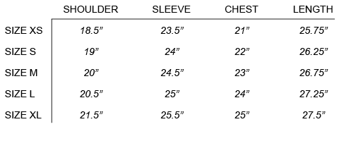 SS18 CRAIG GREEN - UNIFORM JACKET SIZE CHART