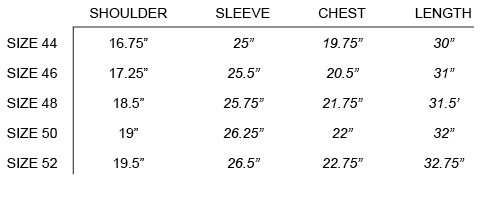 SS18 OUR LEGACY - CLASSIC SHIRT SIZE CHART