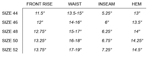 SS18 OUR LEGACY - DRAPE TRUNKS SIZE CHART
