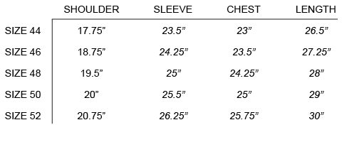 SS18 OUR LEGACY - LIZARD PARKA SIZE CHART