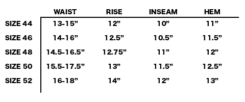 SS19 OUR LEGACY - REST SHORTS SIZE CHART