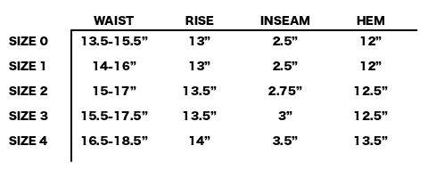 "SS19 SATISFY - LONG DISTANCE 3"" SHORTS SIZE CHART"