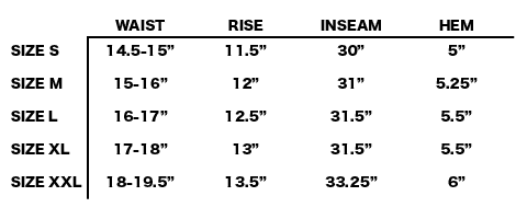 SS19 STONE ISLAND - SLIM POCKET FLEECE PANTS SIZE CHART
