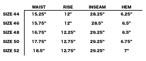 SS19 STONE ISLAND SHADOW PROJECT - ARTICULATED CARGO PANTS SIZE CHART