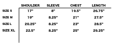 SS20 EDEN POWER CORP - EDEN RECYCLED COTTON T-SHIRT SIZE CHART