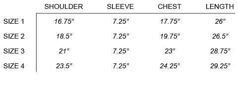 SU16 NOMA TD  - UNEXPECTED TEE SIZE CHART