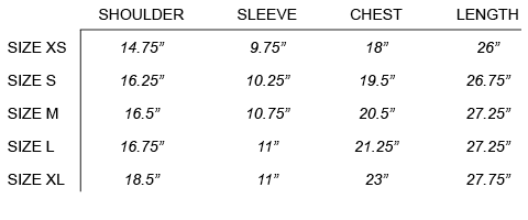 SUNSPEL - SEA ISLAND KNIT POLO SIZE CHART