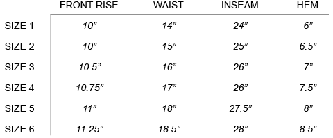 VISVIM - HIGH-WATER CHINO (GIZA) SIZE CHART