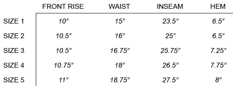VISVIM - HIGH-WATER CHINO SIZE CHART