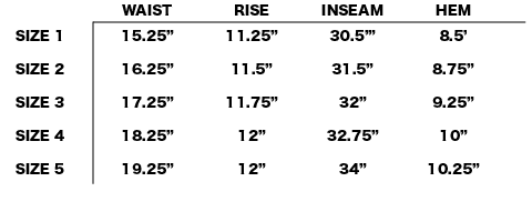 VISVIM - TRADE WIND PANTS SIZE CHART