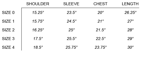 VISVIM - WALLY SHIRT SIZE CHART
