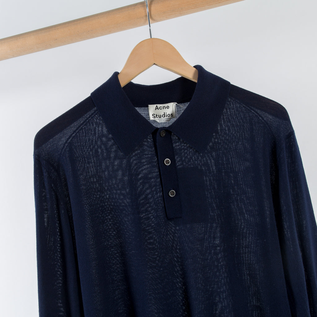 ARCHIVE SALE - ACNE STUDIOS - NADIRR KNIT POLO NAVY