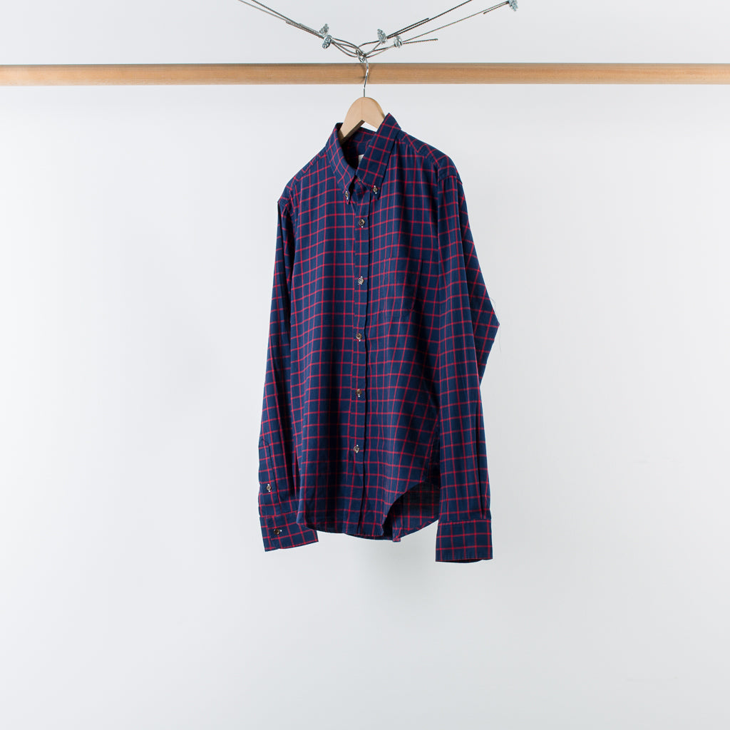 ARCHIVE SALE - BAND OF OUTSIDERS - GRID CHECK BUTTONDOWN NAVY