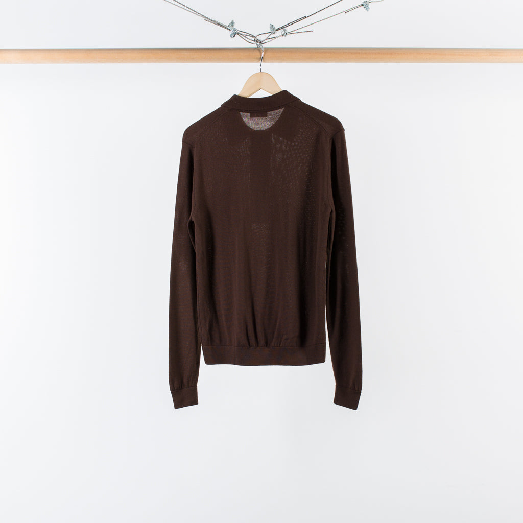 ARCHIVE SALE - CMMN SWDN - CURTIS KNIT POLO BROWN