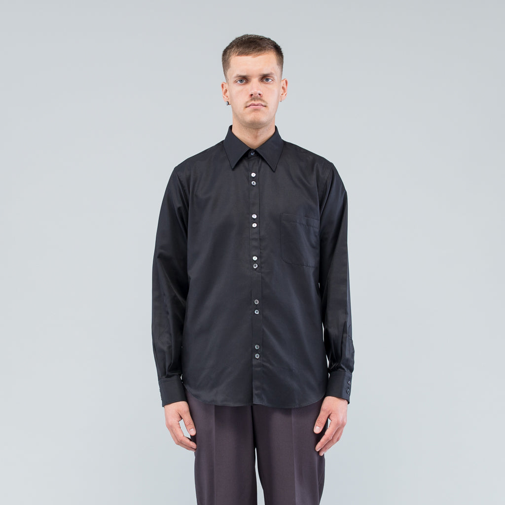 DOUBLE BUTTON SHIRT - BLACK SILK TWILL