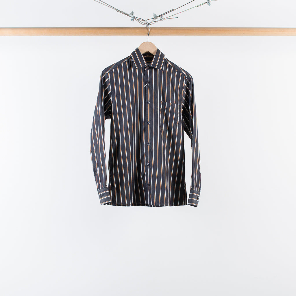 ANGELO SHIRT BLACK RUST STRIPE