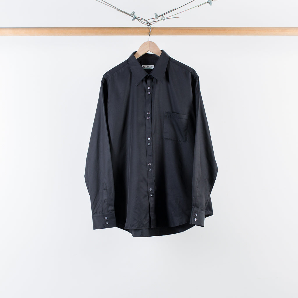 DOUBLE BUTTON SHIRT BLACK SILK TWILL