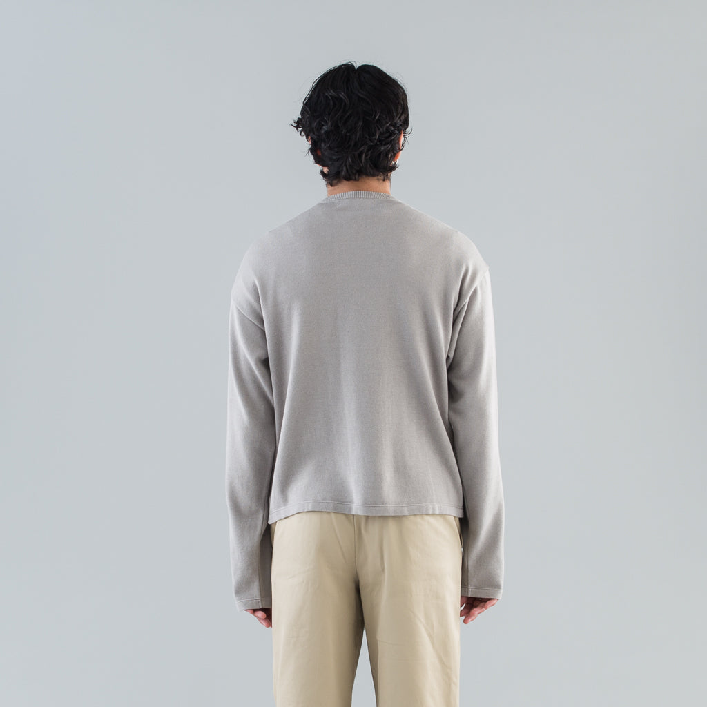 KNIT & SEWN CARDIGAN - GRAY