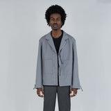 OPEN COLLAR TAPE BLOUSON - GRAY