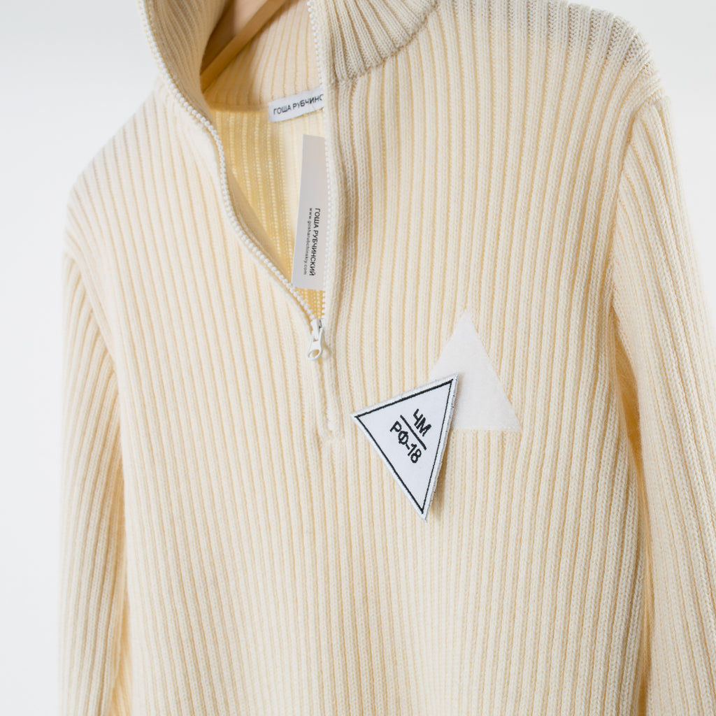 ARCHIVE SALE - GOSHA RUBCHINSKIY - ZIP COLLAR KNIT WHITE