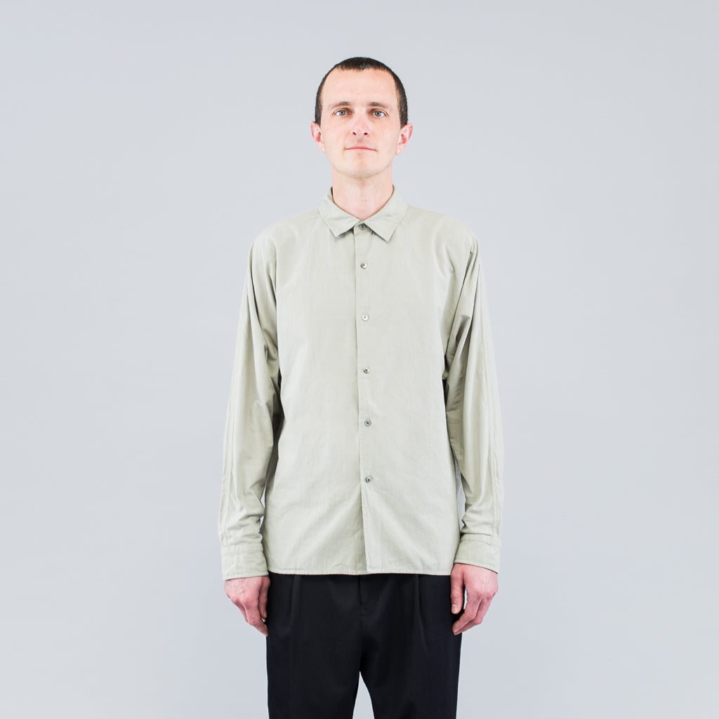 THE LONG SLEEVE COTTON SHIRT - VETIVER GREEN