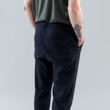 THE STRIPED LIGHT TWEED TROUSERS - BLACK