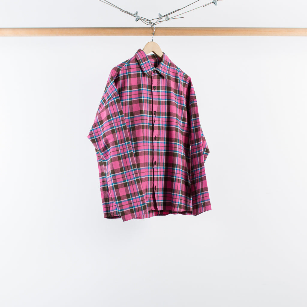 ARCHIVE SALE - GUSTAV VON ASCHENBACH - THE BOX PLAID FLANNEL SHIRT PINK