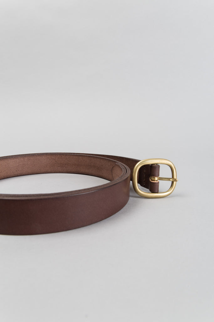 SLIM OVAL BELT - MAHOGANY