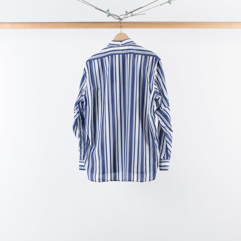 DWELLER B.D SHIRT RELAX FIT C/T/P TUSSAH STRIPE NAVY