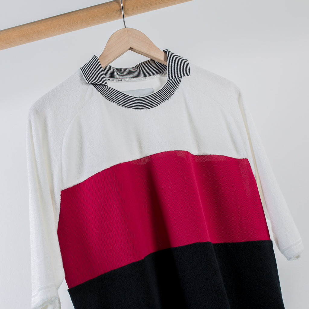 ARCHIVE SALE - NOMA T.D. - PILE FOOTBALL TEE WHITE / BURGUNDY
