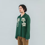 FLOWER EMBROIDERY SHIRT - GREEN