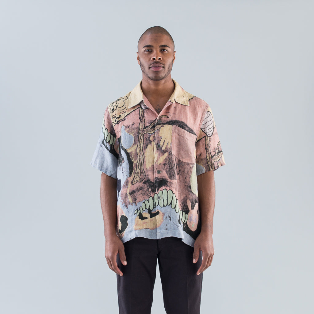 BOX SHIRT SHORT SLEEVE - ACID LANDSCAPE PRINT LINEN