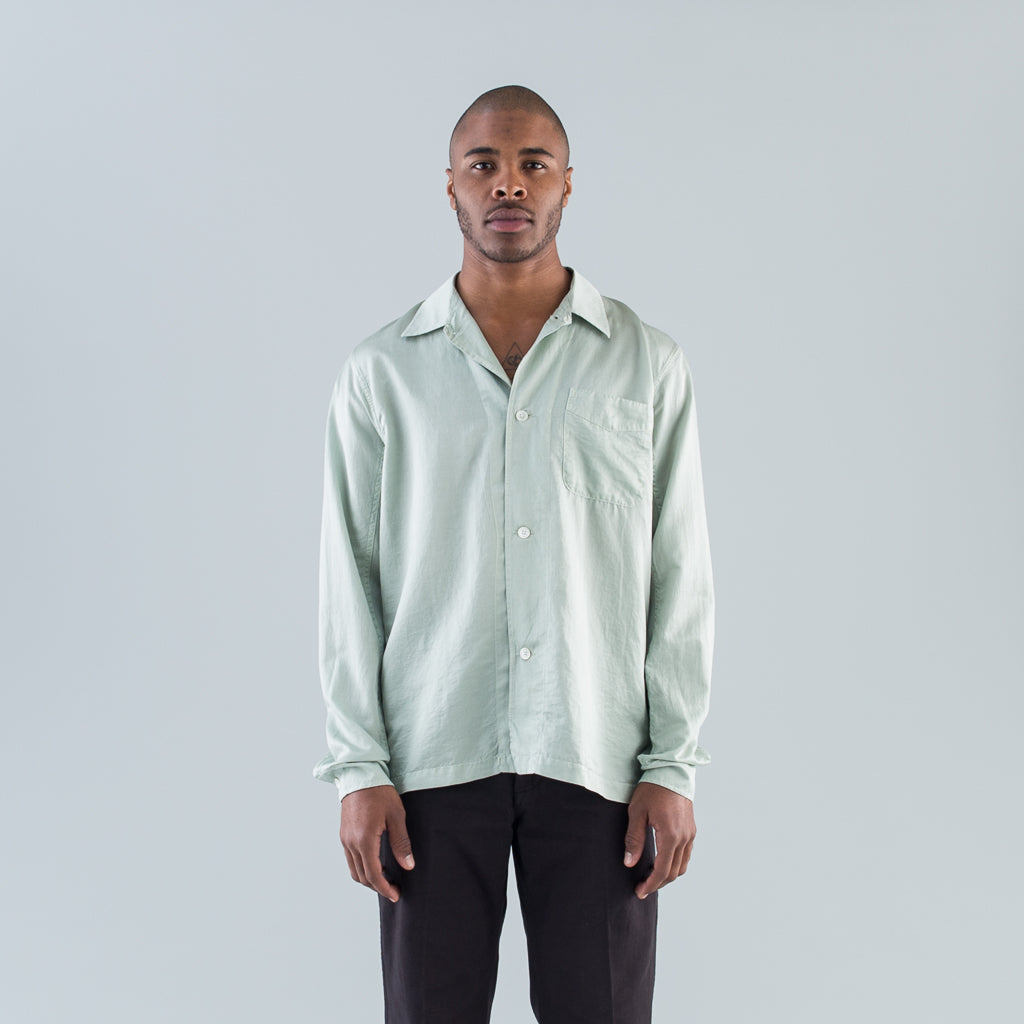 CUFFED BOX SHIRT - TRANSLUCENT PISTACHIO SILK
