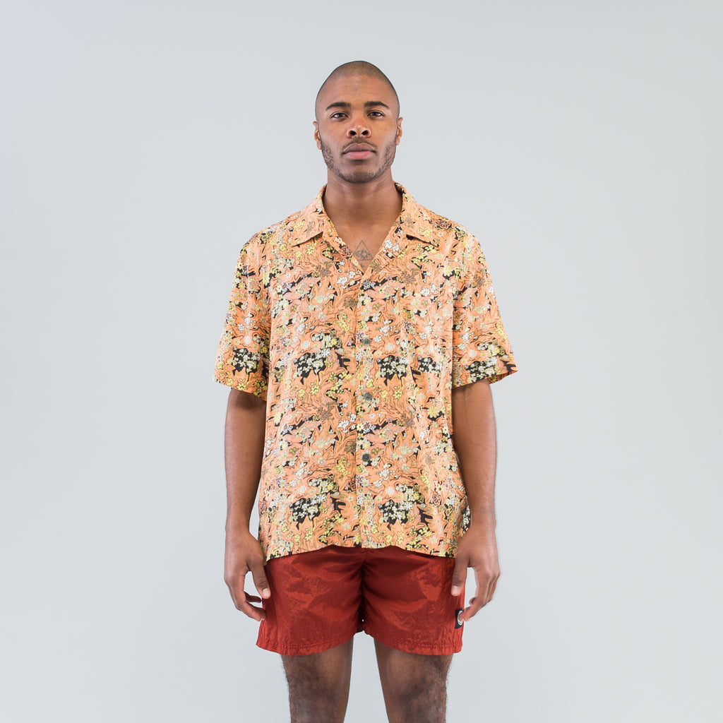BOX SHIRT SHORT SLEEVE - RED PLANTS PRINT