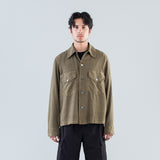 LOAN JACKET - DARK OLIVE FINE SILK