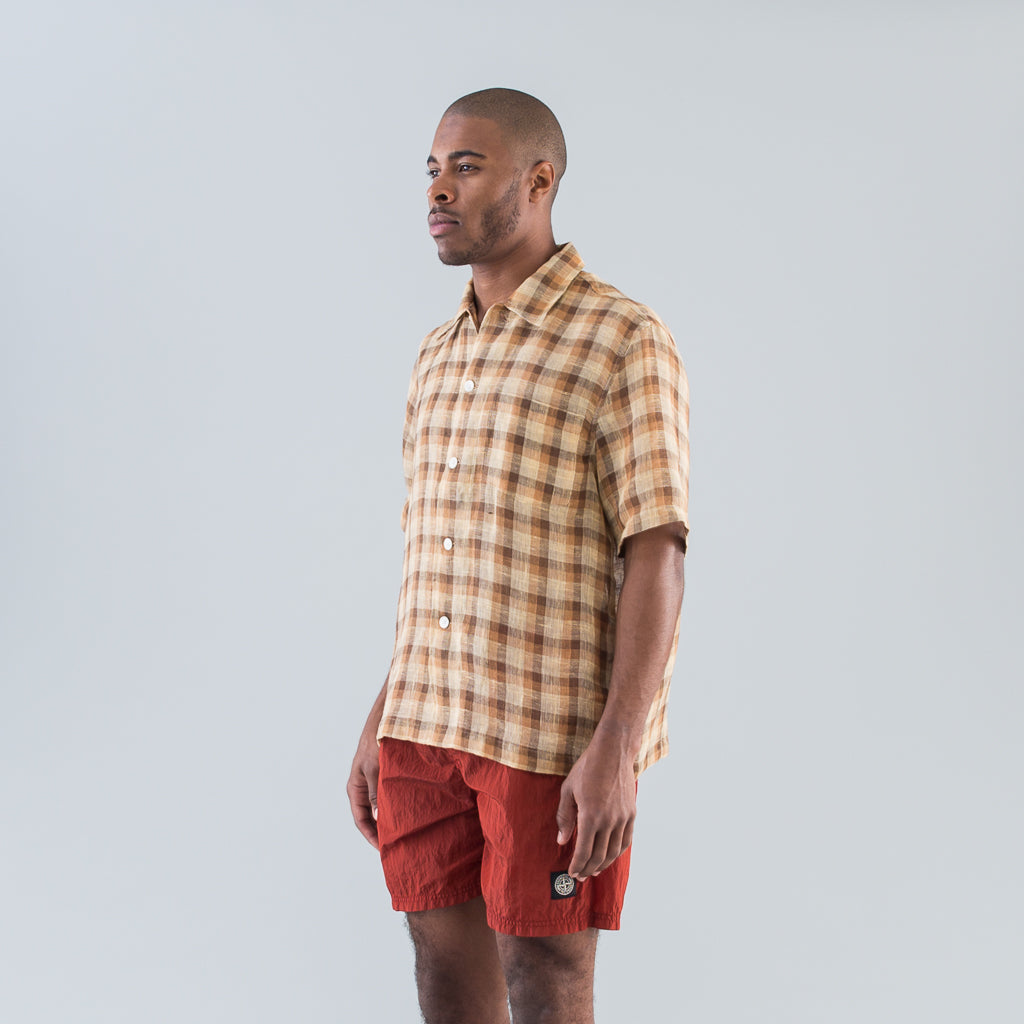 BOX SHIRT SHORT SLEEVE - RAW NET BROWN YELLOW CHECK
