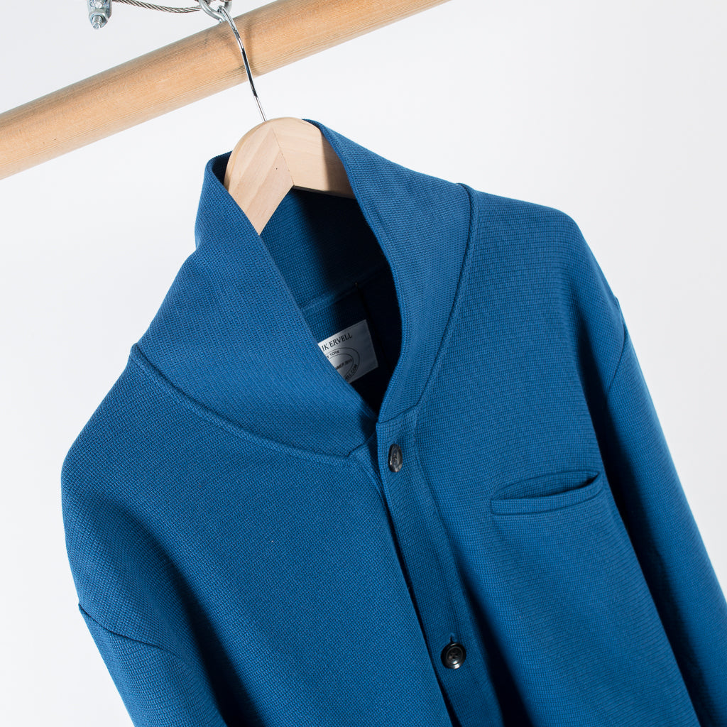 ARCHIVE SALE - PATRIK ERVELL - CARDIGAN TECHNICAL KNIT JERSEY DEEP CERULIAN