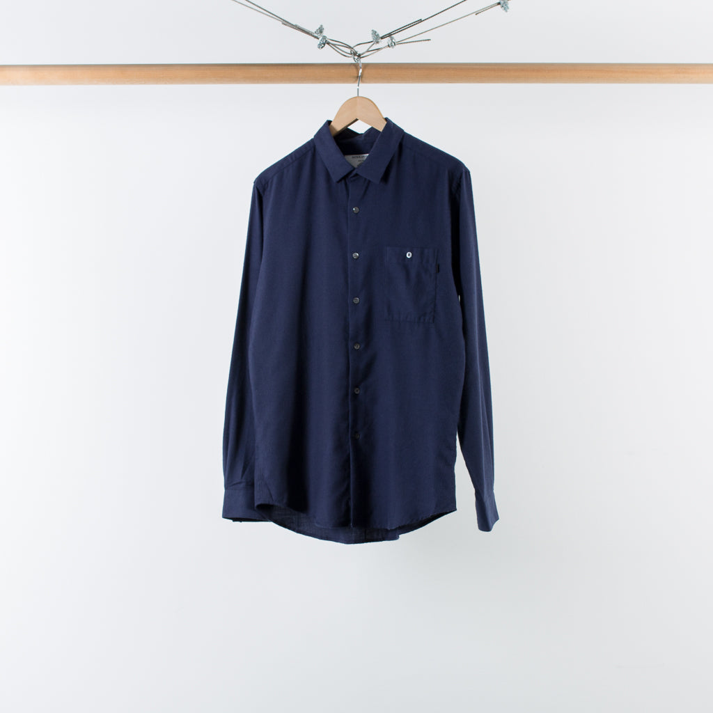 ARCHIVE SALE - PATRIK ERVELL - STITCHLESS BUTTONDOWN NAVY FLANNEL