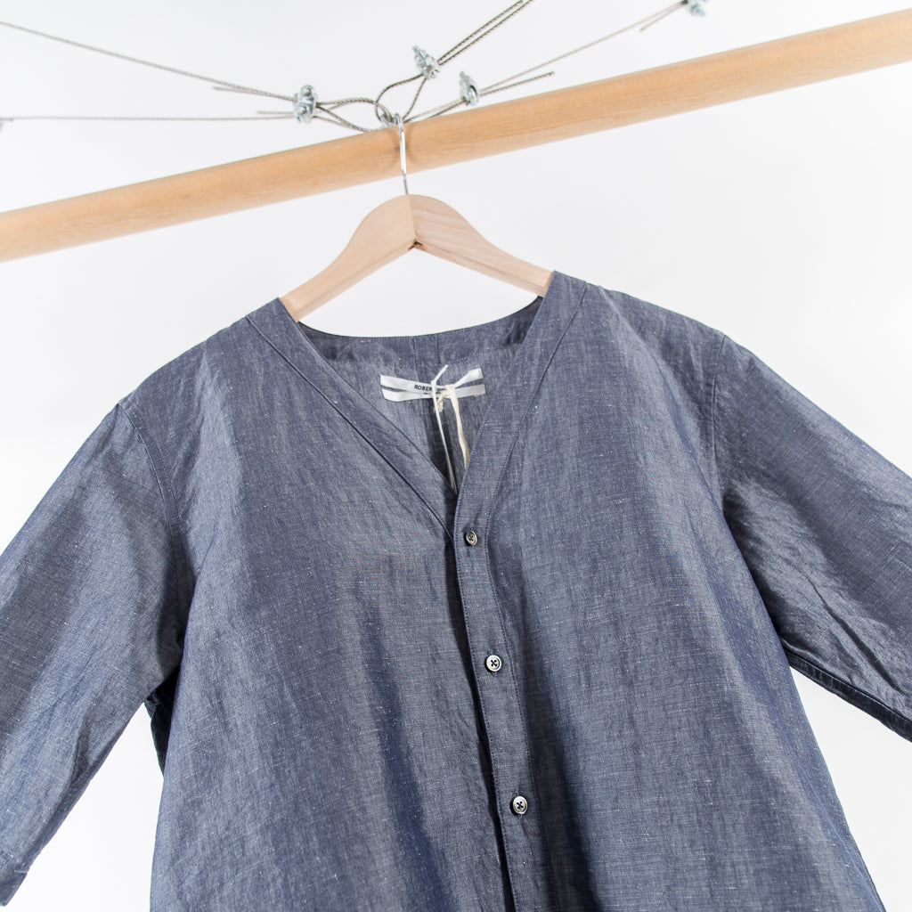 ARCHIVE SALE - ROBERT GELLER - GREY LINEN BASEBALL SHIRT