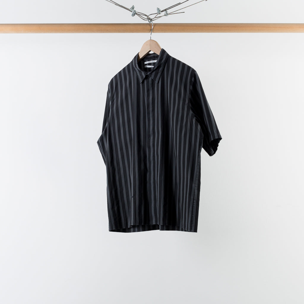ARCHIVE SALE - ROBERT GELLER - THE OVERDYED STRIPE S/S SHIRT BLACK