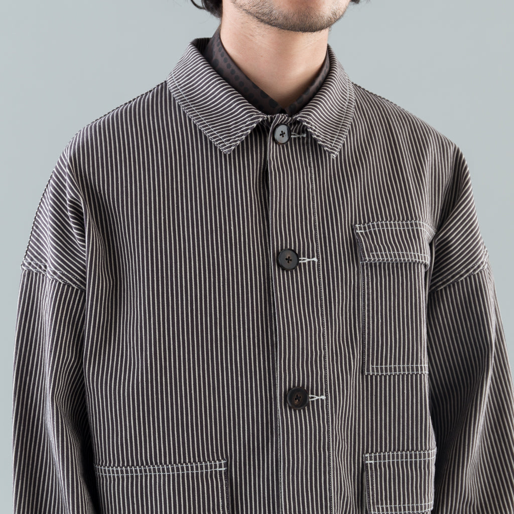 THE STRIPED THREE POCKET JACKET - BIRCH