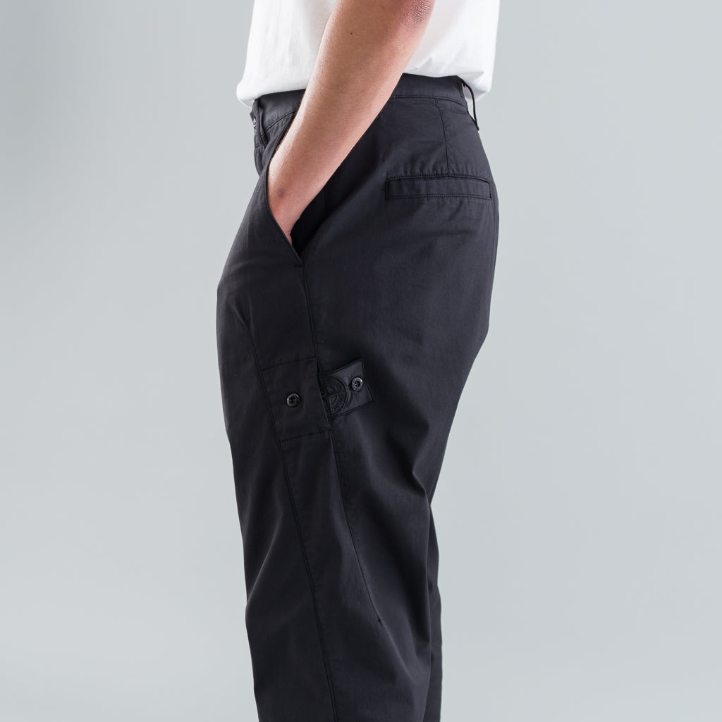 TAPERED GABARDINE PANTS - BLACK