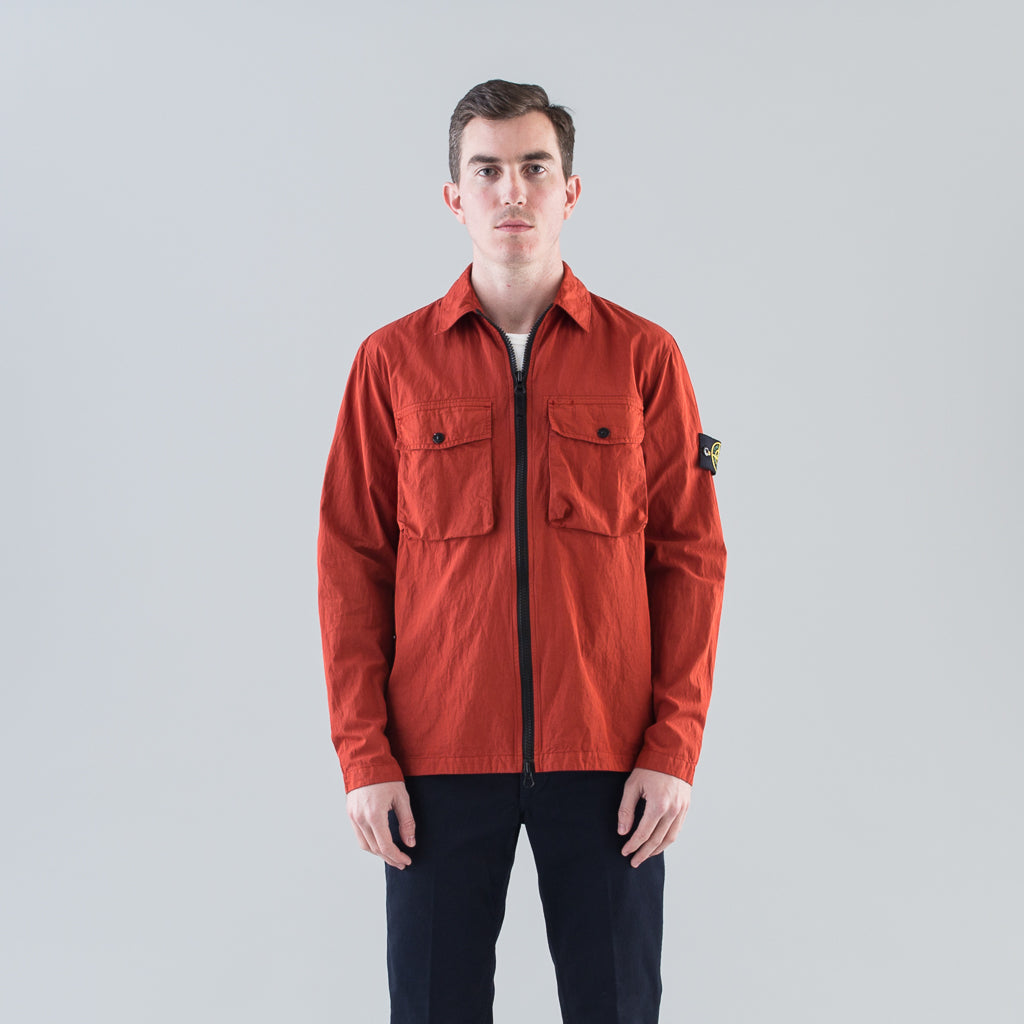 COTTON NYLON POPLIN CARGO OVERSHIRT - BRICK RED