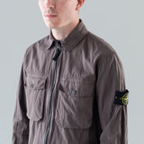 COTTON NYLON POPLIN CARGO OVERSHIRT - PETROL