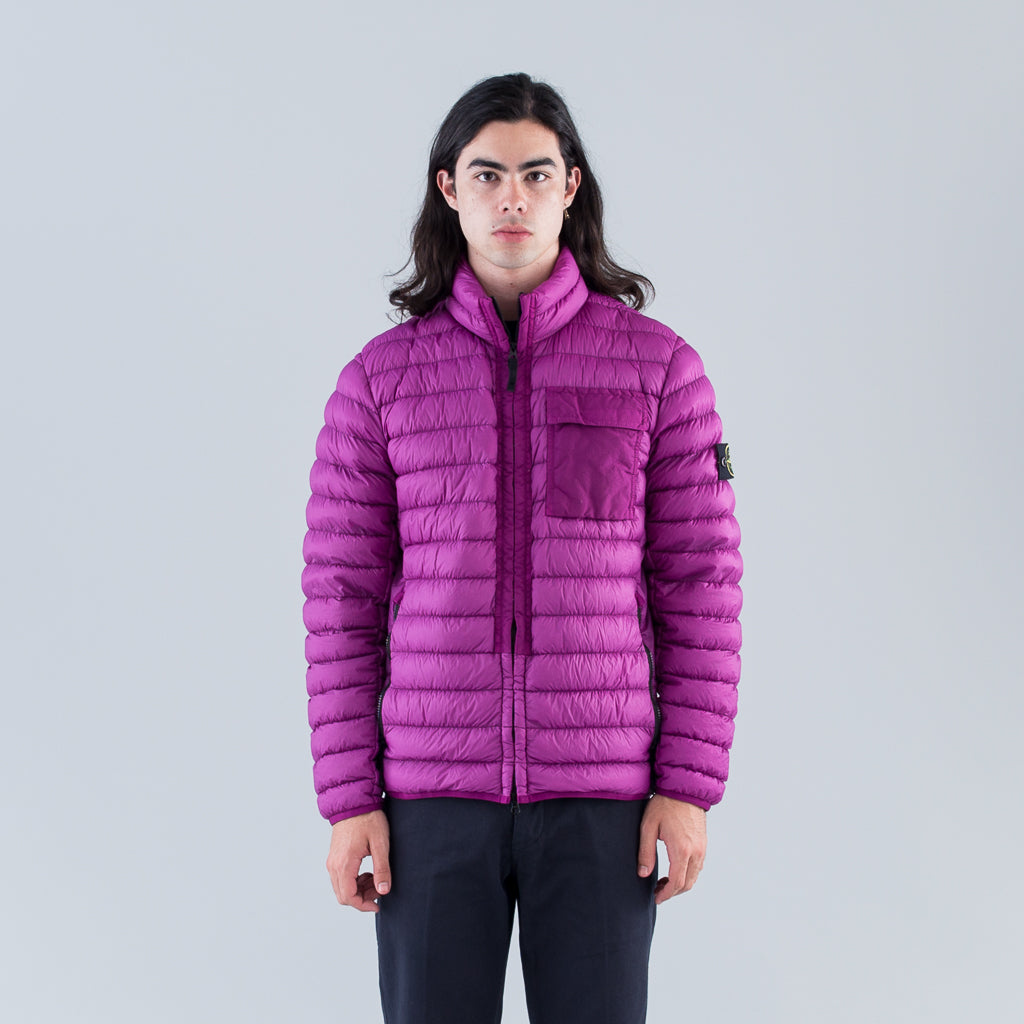 GARMENT DYED MICRO YARN DOWN JACKET - MAGENTA